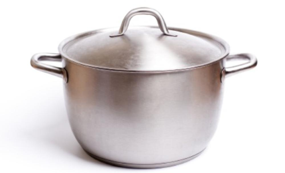 A stainless pan