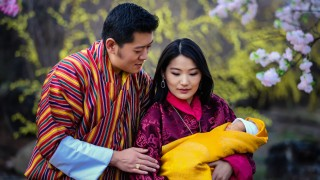 """This handout photograph released by Bhutan's King Jigme Khesar Namgyel Wangchuck on his official Facebook page and taken on February 19, 2016, shows King Jigme Khesar Namgyel Wangchuck (L) and Queen Jetsun Pema with the royal baby Gyalsey at Lingkana Palace in Bhutan. Bhutan's royal couple on February 6 announced the birth of their first child, a baby prince, delighting the remote Himalayan kingdom where the monarchy is revered.   AFP PHOTO/KING WANGCHUCK'S FACEBOOK PAGE  ---EDITORS NOTE--- RESTRICTED TO EDITORIAL USE - MANDATORY CREDIT """"AFP PHOTO / KING WANGCHUCK'S FACEBOOK PAGE """" - NO MARKETING NO ADVERTISING CAMPAIGNS - DISTRIBUTED AS A SERVICE TO CLIENTS / AFP / King Wangchuck's Facebook Page / King Wangchuck's Facebook Page"""