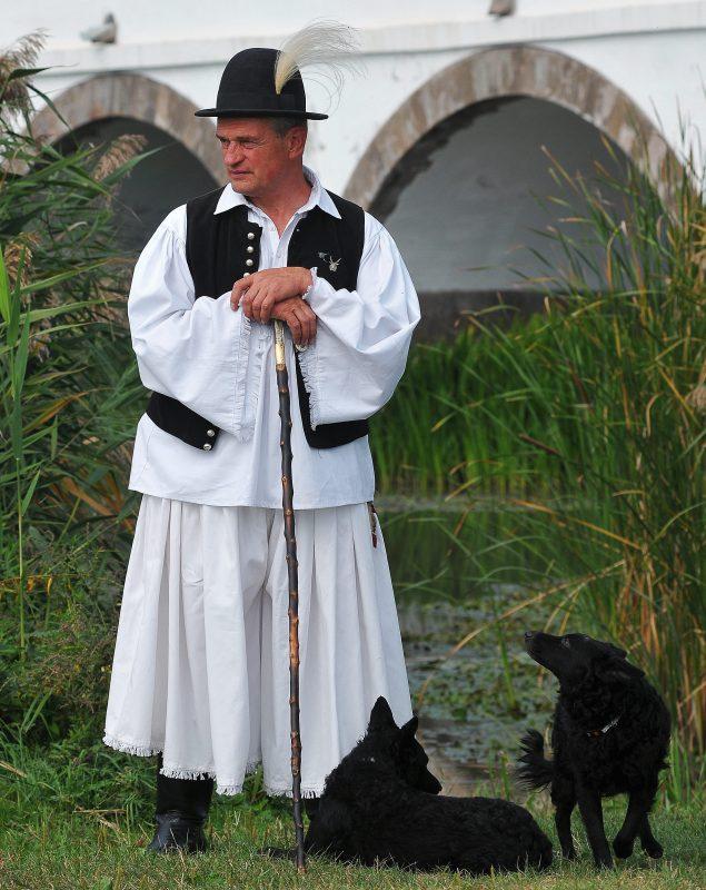 Hortobágy község, 2011. szeptember 17.A szegedi Vanyó Sándor, valamint Csuti (fekszik) és Gubanc nevű mudi fajtájú kutyái a hortobágyi pásztorok és magyar hagyományőrző pásztorkutyások találkozóján, a hortobágyi Kilenclyukú híd előtt. Az eseményen a pumi, puli és a mudi fajták tenyészszemléje mellett országos terelőbajnokságot is rendeztek.MTI Fotó: Czeglédi Zsolt